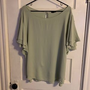 Mint Blouse with Ruffle Sleeves